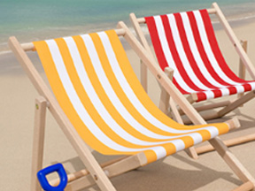 Deckchairs on a beach