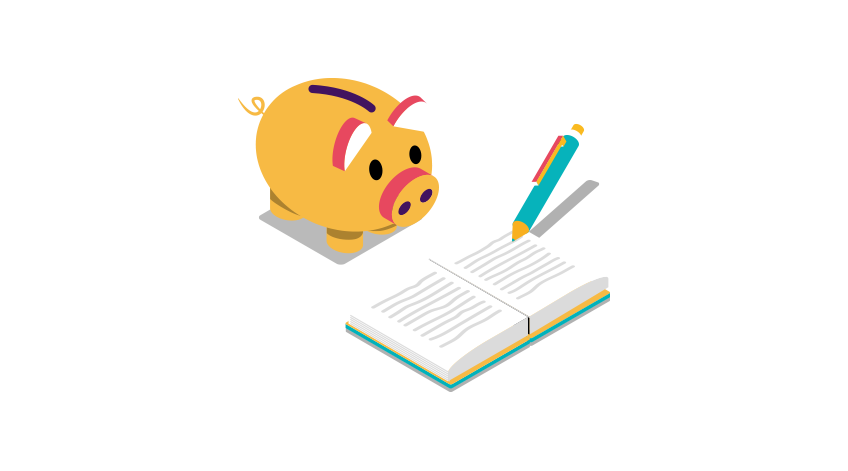 Piggy bank with a notebook and pen