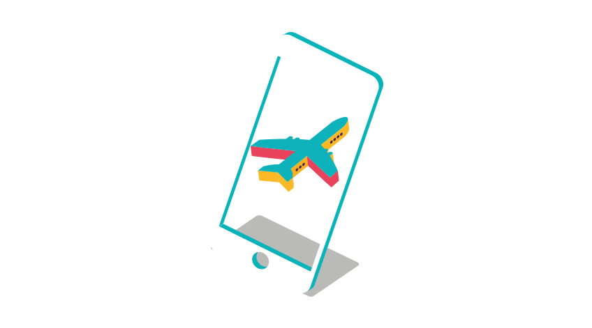mobile phone with image of an aeroplane
